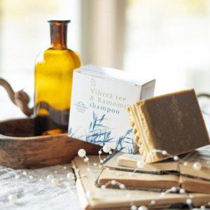 Vihreä Tee & Kamomilla palashampoo – Kehitetty hillitsemään päänahan kutinaa ja kuivuutta.