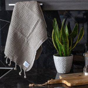 Hamam käsipyyhe/keittiöpyyhe! Vohveli Harmaa – Koko 50x90cm, 100% puuvillaa